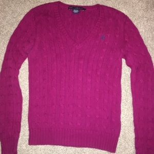 Women's Medium Magenta V-Neck Ralph Lauren Sweater
